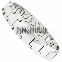 12MM Classic Silver Color Tungsten Bracelet with Magnetic Therapy. The length of this bracelet is 8 inches. It has a weight of 73 grams. $74.99 at Ring-Ninja.com!   #ringninja #tungsten #bracelet #giftsforhim