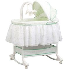 A baby bassinet. I love these! What's best about this one: Wheels, storage, rocker, and mobile! Oh, and don't forget the color!