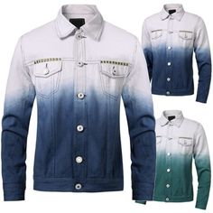 Fashion Mens Spell Gradient Color Jacket Single-Breasted Casual Long Sleeve Buttons Coat