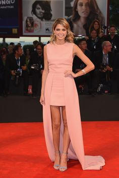 Blogger Helena Bordon wears ELIE SAAB PreFall 2014 to the 'Il Giovane Favoloso' movie premiere during the 71st Venice Film Festival in Italy.