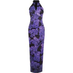 Floral Stretch Maxi Dress ($499) ❤ liked on Polyvore featuring dresses, flower print maxi dress, multi-color dress, colorful dresses, purple dress and purple maxi dress