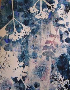 Sanneke Griepink - Through the High Grasses Gelli Plate Printing, Printing On Fabric, Textile Prints, Textile Art, Gelli Arts, Artist Sketchbook, Nature Prints, Shibori, Botanical Prints