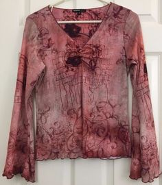 One World Knit Top Floral Gathered V-Neck Long Ruffled Sleeve/Hem Size S Wine #OneWorld #KnitTop #CareerCasualDressy