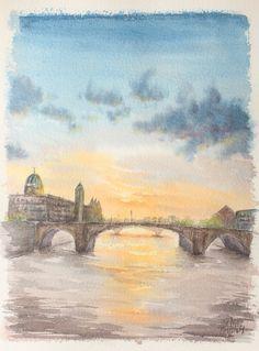 Escenas en acuarela - Atardece en el rio. Watercolor scenes - Sunset in the river. HMZEN'14