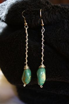 Green Rock Wire wrap Dangle Earrings by ConceptAna on Etsy