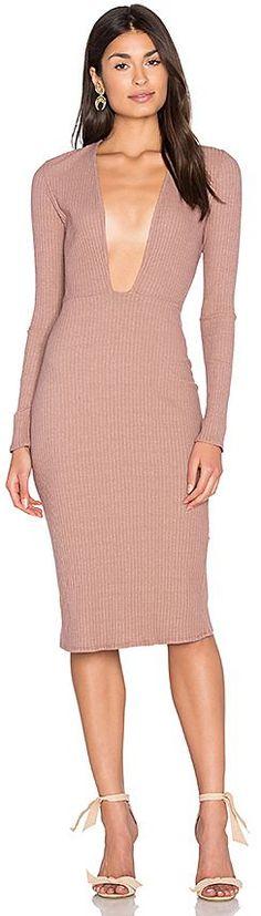 NYTT Long Sleeve Plunge Dress