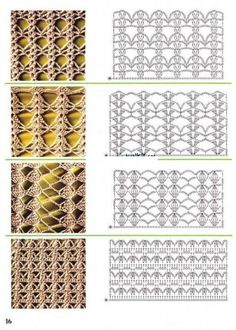 lots of stitch patterns with diagrams