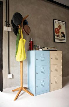 Mood Board Large: Keep those lockers! | Home & Decor Singapore Instead of black or silver, these lockers are painted pastel blue and beige as a soothing contrast to the cement screed walls.