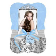 Elegant Blue Silver Bow & Rose Photo Quinceanera 1 Card