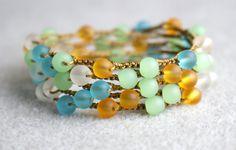 Tropical Oasis boho crochet wrap bracelet or necklace, boho chic, bohemian jewelry, white flower, sea glass, green, blue, topaz, clear. $44.00, via Etsy.