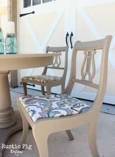 Chairs in Coco Chalk Paint® decorative paint by Annie Sloan | Project by the Rustic Pig