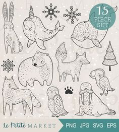 Hand Drawn Arctic Animal Clip Art Set, Arctic Animals Illustration Set, Arctic Clipart, Narwhal Clipart, Fox Clipart, Commercial Use, Vector
