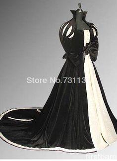 Balck reina georgiano medieval dress de halloween disfraces queen dress recreación de vestuario del teatro