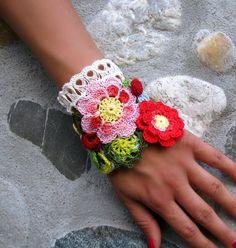 Freeform crochet Jewelry / Bracelet Cuff  Floral by kovale on Etsy,