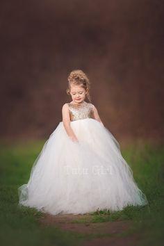 99dfb4678 Tutu Flower Girl Dress Flowergirl Dress Tulle and Sequins   Etsy Girls Tutu  Dresses, Ivory