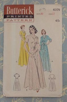 Vintage Butterick Pattern 6379 1950's Women's Full Length Robe Sz 12 Uncut #Butterick