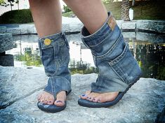 #danikfashion Hand-made Jeans Sandal Boots. Click here for more styles. www.danikfashion.com