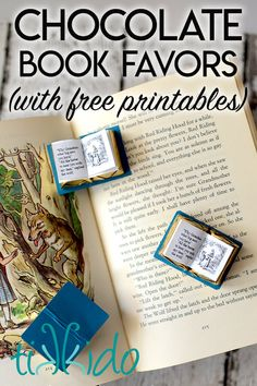 These chocolate book favors are great for any book themed event!  I made them for a Little Red Riding Hood themed birthday party, and you can get free printables to make these chocolate books on the blog post. Red Riding Hood Book, Red Riding Hood Party, Bite Size Desserts, Party Desserts, Birthday Party Themes, Girl Birthday, Hood Books, Meal Recipes, Dessert Recipes