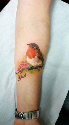 Robin tattoo by Elena. Limited availability at Holy Grail Tattoo Studio. Robin tattoo by Elena. Limited availability at Holy Grail Tattoo Studio. Dad Tattoos, Neue Tattoos, Foot Tattoos, Arm Tattoo, Girl Tattoos, Small Tattoos, Tattoos For Guys, Tattoos For Women, Tattoo Bird