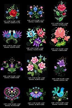 Folk Embroidery Patterns 12 Polish folk art machine embroidery designs in pes art