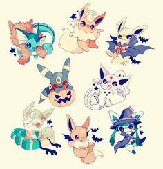 Halloween eeveelutions!