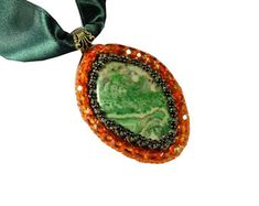 """Thesaurus"" Collection by Memet Jewelry - Orange and Green Pendant"