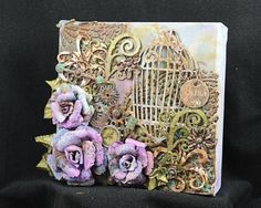 Mixed Media Canvas using #Spellbinders and #TenSecondStudio