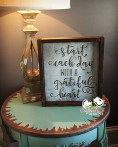 Start each day with a grateful heart rustic by CottonRowDesigns