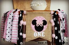 MINNIE MOUSE Birthday High Chair Highchair Banner Pink Black Vintage Photo Prop Backdrop Cake Smash Burlap I Am One First Clubhouse Custom