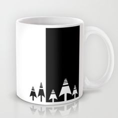 Black and white forest mug, scandinavian design by Limitation Free #society6