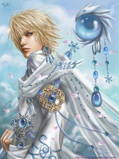 Ice Wizard by *Yue-Iceseal on deviantART, blonde hair, mage, fantasy, blue eyes, drawn, cute guy