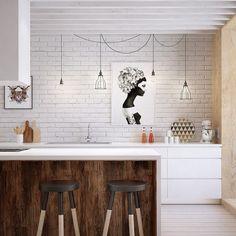 biała cegła na ścianie,białe szafki kuchenne,druciane abażury i żarówki na kablach,bialy okap nad wyspą kuchenną ze stołkami - Lovingit.pl