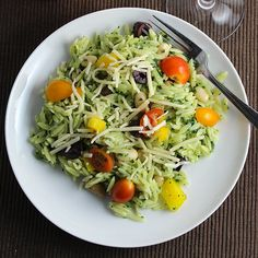 Orzo Salad with Kale Pesto can be made ahead for bringing to a picnic or cookout, or served right away for a simple vegetarian main course.