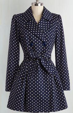 Cute blue polka dot coat