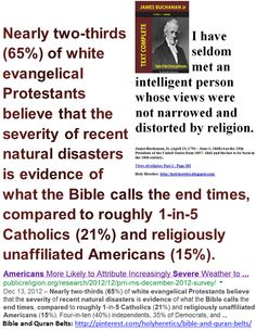 Narrows & distorts - Nearly two-thirds (65%) of white evangelical Protestants believe that the severity of recent natural disasters is evidence of what the Bible calls the end times.