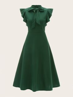 Tie Neck Flutter Sleeve Flare Dress | SHEIN