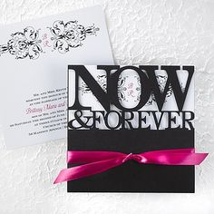 """Perpetual Love Wedding Invitations - White Your initials are showcased in an elegant flourish design showing through the die-cut, black wrap of this white invitation.  Product Details •Dimensions: 6 1/4"""" x 6 1/4"""" Card •Type of Printing: Thermography •Price Includes: Blank wrap, printed invitation insert, 5/8"""" x 22"""" pre-cut ribbon in your choice of color and a blank single white envelope • Production Time: 3 Working Days • Extra Postage Required • Customer Assembly Required"""