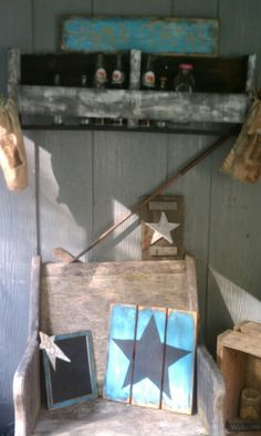 Porch grouping includes...pallet bottle holder-repurposed pugh into chair-a few hand made plaques and seed sacks