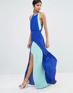 Vestido largo con capa inferior en contraste Camilla de BCBG Max Azria