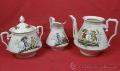 lote juego cafe azucarero tetera lechera porcelana francesa finales s. XIX París
