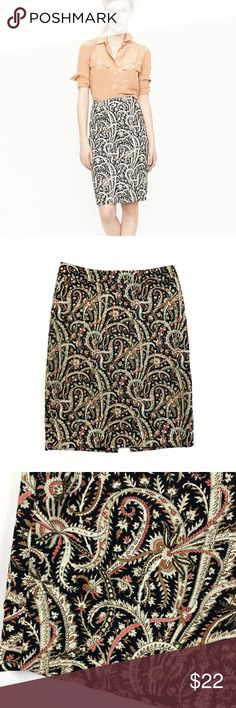 """J Crew No 2 Pencil Skirt in Feather Paisley Print J. Crew no. 2 pencil skirt in feather paisley print. Style 72982 Very good condition. Cotton/spandex Size 0 Apx: 21 1/2"""" long. 14 1/4"""" waist flat. J. Crew Skirts Pencil"""