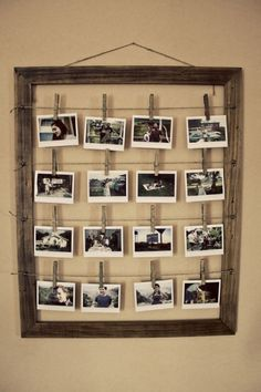 Display photos in old picture frame....use horizontal wires and small clips or clothespins