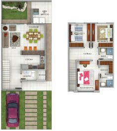 2 Storey House Design, Tiny House Design, Small Floor Plans, Small House Plans, Small Villa, Micro Apartment, Apartment Layout, Facade House, Girl Room