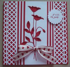 G172 Hand made Birthday card using Memory Box Prim Poppy die and Martha Stewart Punch