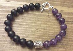 Amethyst and Black Onyx with Buddha by NidraBeads on Etsy Spiritual Jewelry, Black Onyx, Buddha, Amethyst, Jewelry Making, Beaded Bracelets, Trending Outfits, Beads, Unique Jewelry