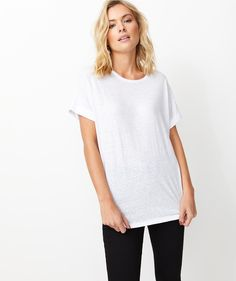 The Textured Tee will be elevated to cult status. This cotton blend jersey tee features crew neckline, rolled cuffs, curved hem and relaxed fit. Casual Clothes, Casual Outfits, Out Of Shape, Metal Trim, White T, Color Mixing, Looks Great, Knitwear, Curves