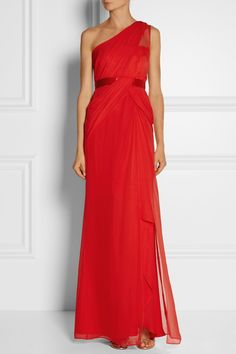 Notte by MarchesaOne-shoulder Silk-georgette Gown (One-shoulder. Satin waistband. Slit. Tomato red.)