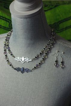 Lavender and Yellow Glass Necklace and Earring Set with Silver or Black Filigree | Jewelry & Watches, Handcrafted, Artisan Jewelry, Sets | eBay!