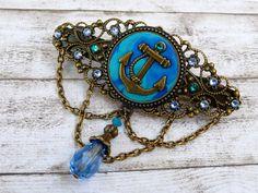Haarspange mit Anker Motiv in blau türkis bronze maritimer