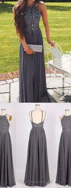 Long Prom Dresses 2018, A-line Prom Dresses Scoop Neck, Chiffon Prom Dresses Beading, Modest Prom Dresses Gray